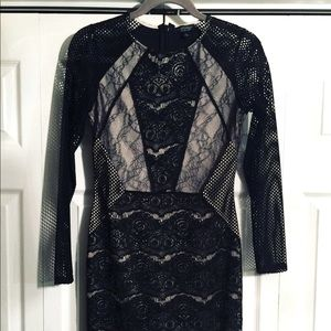 NWOT Topshop black lace with mesh sleeve dress